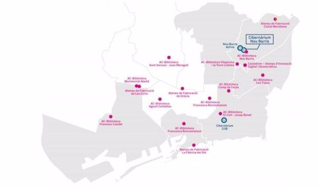 Mapa dels nous equipaments de formació a Barcelona