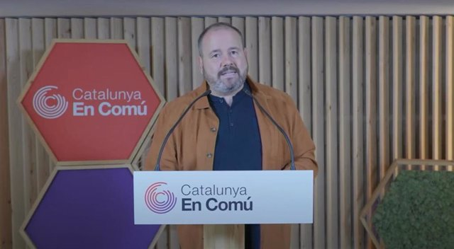 El portavoz de los comuns y diputado en el Congreso, Joan Mena, en su intervención telemática durante el Consell Nacional del partido.