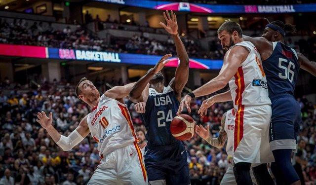 Archivo - España - Estados Unidos previo al Mundial 2019