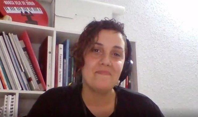 La líder de Podem Catalunya, Conchi Abellán, en la seva intervenció durant el Consell Ciutadà telemàtic del partit.