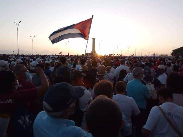 Concentración de apoyo al presidente de Cuba, Miguel Díaz-Canel