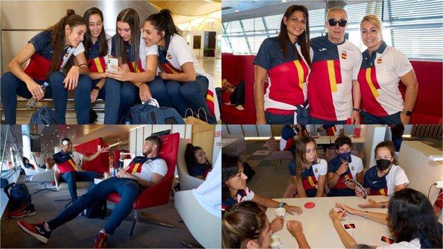 El equipo olímpico español espera en Barajas la salida de su vuelo a Tokio