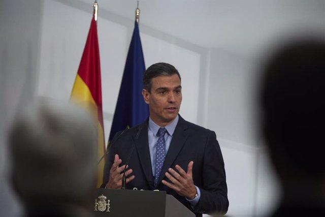 El presidente del Gobierno, Pedro Sánchez, interviene en la presentación de la Carta de Derechos Digitales, en La Moncloa, a 14 de julio de 2021, en Madrid (España). La Carta de Derechos Digitales, es uno de los compromisos fundamentales del plan España D