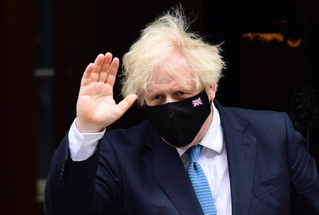 14 July 2021, United Kingdom, London: UK Prime Minister Boris Johnson departs 10 Downing Street to attend the Prime Minister's Questions at the Houses of Parliament. Photo: Ian West/PA Wire/dpa