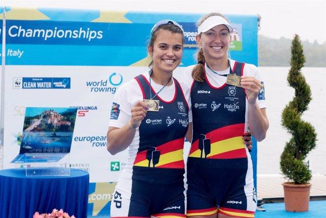 Archivo - Aina Cid, Virginia Diaz Rivas (ESP), bronze medal, Women's Pair during the 2021 European Rowing Championships, on April 11, 2021 in Varese, Italy - Photo Danilo Vigo / LM / DPPI