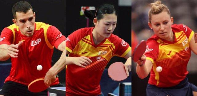 Archivo - Los jugadores españoles de tenis de mesa Álvaro Robles, María Xiao y Galia Dvorak
