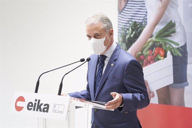 El Lehendakari, Iñigo Urkullu, durante su intervención en Eika