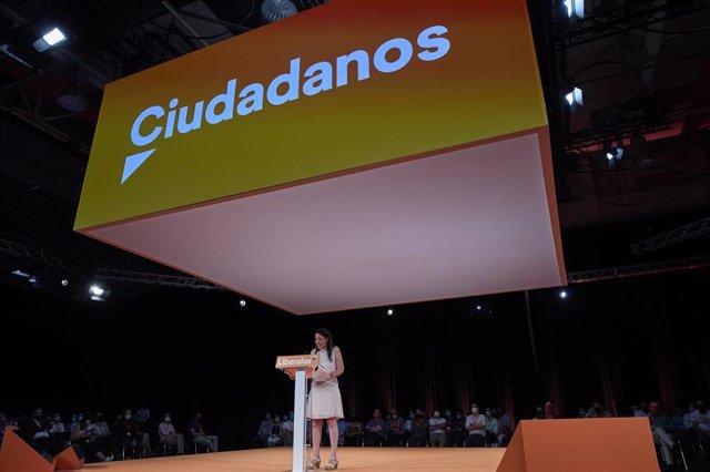 La secretaria general de Ciudadanos, Marina Bravo, en la convención política que el partido ha celebrado en Madrid.