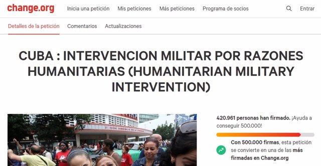Petició en Change.org a favor d'una intervenció militar dels Estats Units a Cuba