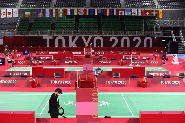 18 July 2021, Japan, Tokyo: A general view of the Musashino Forest Sport Plaza, the venue for badminton at the Tokyo 2020 Olympic Games. Tokyo 2020 Olympic Games will be held from 23 July to 8 August 2021. Photo: -/YNA/dpa