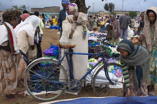 Un mercado en Tigray, Etiopía