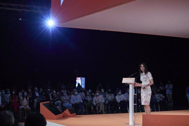 La presidenta de Ciudadanos, durante el acto de clausura de la convención política del partido, en el espacio para eventos Nube de Pastrana, a 18 de julio de 2021, en Madrid (España). Ciudadanos celebra este fin de semana su convención política bajo el es