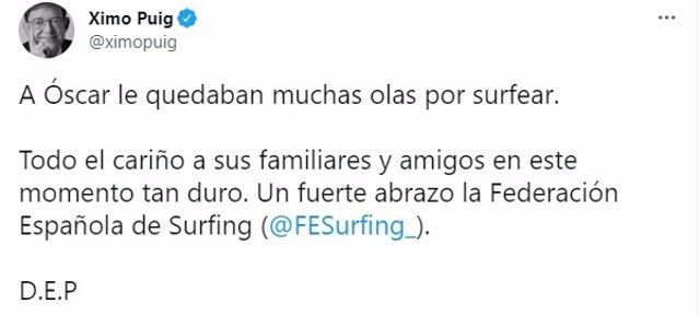 El 'president' de la Generalitat, Ximo Puig, muestra sus condolencias por la muerte del surfista valenciano Óscar Serra