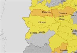 Archivo - Avisos por altas temperaturas en Extremadura para este lunes.