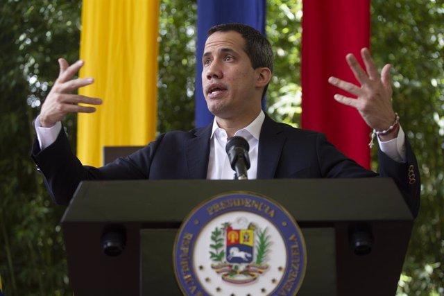 Archivo - 19 May 2021, Venezuela, Caracas: Juan Guaido, opposition leader in Venezuela, speaks during a press conference. Photo: Pedro Rances Mattey/dpa