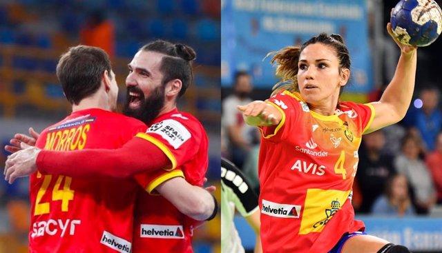 Los internacionales españoles Jorge Maqueda, Viran Morros y Carmen Martín