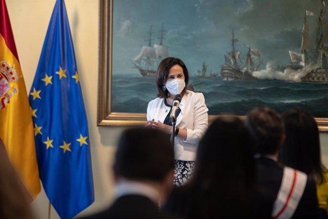 La ministra de Defensa, Margarita Robles, en un acto en el Ministerio