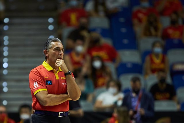 Sergio Scariolo, head coach of Spain, during friendly match between Spain and France to preparation to Tokyo 2021 Olympics Games at Martin Carpena Stadium on July 08, 2021 in Malaga, Spain