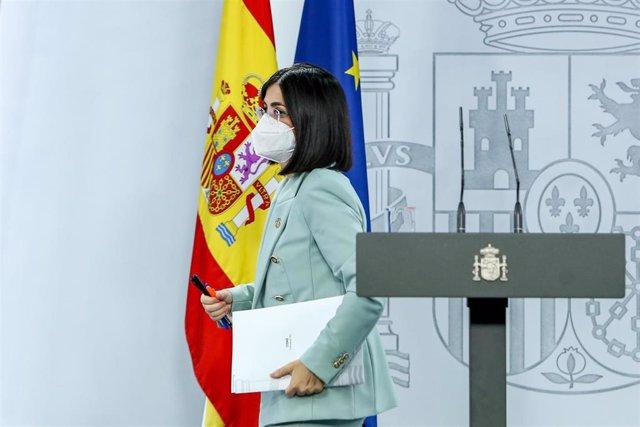 La ministra de Sanidad, Carolina Darias, durante la rueda de prensa posterior al Consejo Interterritorial de Salud, a 14 de julio de 2021, en Madrid (España).