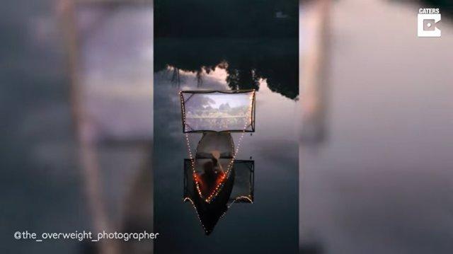Un fotógrafo de Sussex se las ingenia para montar un mini cine en mitad de un lago