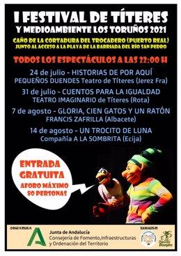 Cartel anunciador del I Festival de Títeres y Medio Ambiente en Los Toruños y La Algaida.