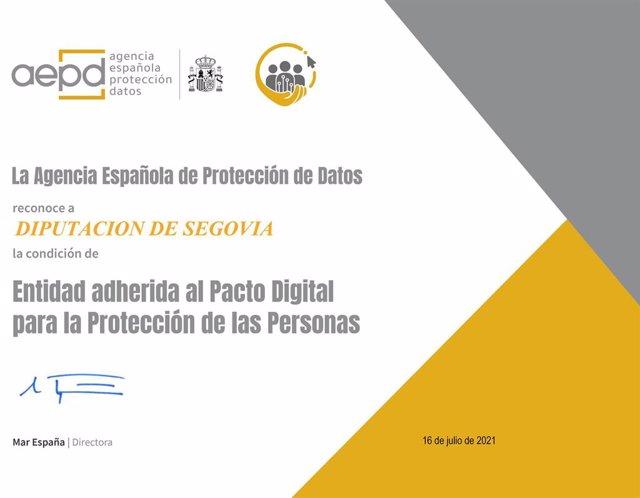 Reconocimiento de la adhesión de la Diputación de Segovia al Pacto Digital para la protección de las personas.