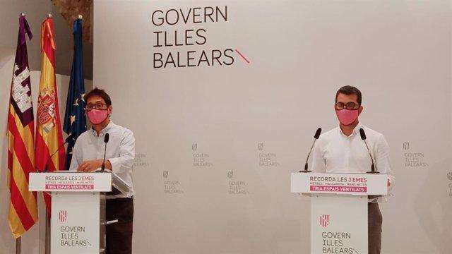 El portavoz del Govern, Iago Negueruela, y el conseller de Fondos Europeos, Universidad y Cultura, Miquel Company.