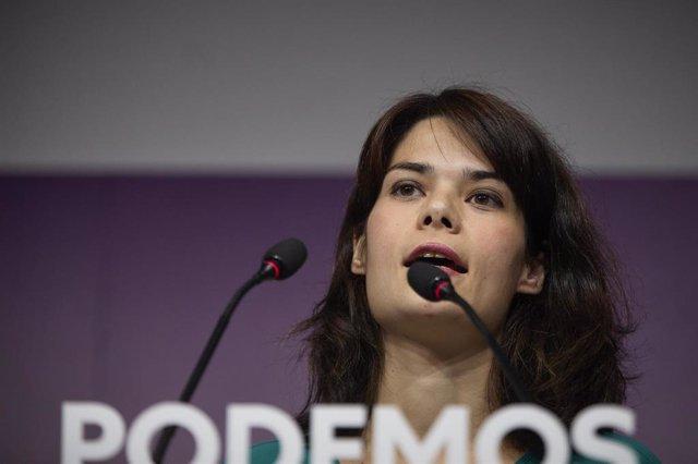 La portavoz de Podemos, Isa Serra, durante una rueda de prensa en la sede del partido, a 19 de julio de 2021, en Madrid (España).