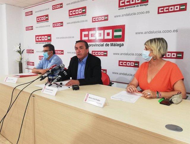 El secretario general de CCOO de Málaga, Fernando Cubillo, presenta un estudio sobre los salarios de 2019 en la provincia de Málaga
