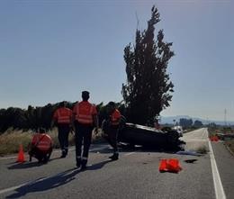 Imagen del accidente en Ribaforada