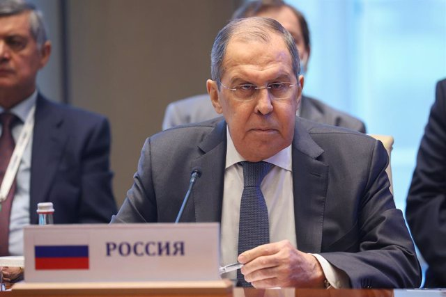 HANDOUT - 16 July 2021, Uzbekistan, Tashkent: Russian Foreign Minister Sergey Lavrov attends the Central & South Asia 2021 conference in Tashkent. Photo: -/Russian Foreign Ministry/dpa - ATTENTION: editorial use only and only if the credit mentioned above