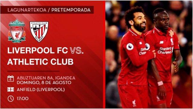 El Athletic Club de Bilbao jugará un partido amistoso contra el Liverpoll  FC en Anfield el 8 de agosto