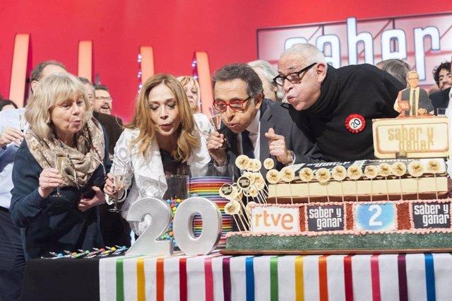 Archivo -    Saber y Ganar cumple 20 años en La 2 de TVE el próximo viernes 17 de febrero, un aniversario que celebrará con una programación especial que empezará este viernes 10 de febrero recorriendo la historia del programa y sus decorados, y donde se