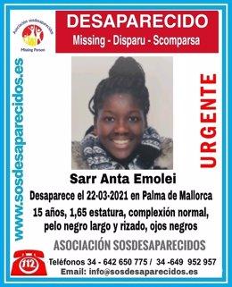 Sarr Anta Emolei, desaparecida en Palma en marzo de este año.
