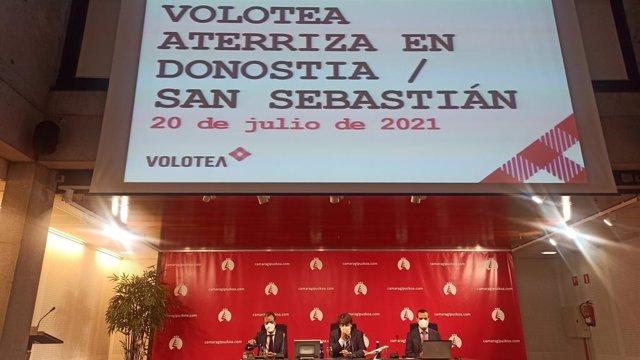 Presentación de las conexiones entre San Sebastián, Menorca y Mallorca con Volotea.