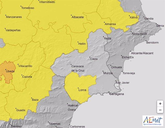 Mapa con los avisos meteorológicos activos el jueves