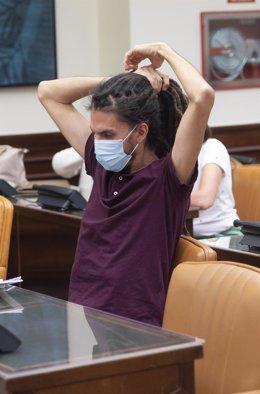 El secretario de Organización de Podemos, Alberto Rodríguez, a su llegada a la Comisión de Trabajo, Inclusión, Seguridad Social y Migraciones en el Congreso de los Diputados, a 1 de julio de 2021, en Madrid, (España).