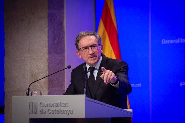 El conseller d'Economia i Hisenda, Jaume Giró, en la roda de premsa posterior al Consell Executiu