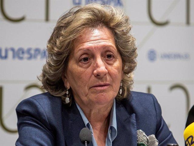 Archivo - La presidenta de Unespa, Pilar González de Frutos, durante la presentación de resultados del sector asegurador en 2019.