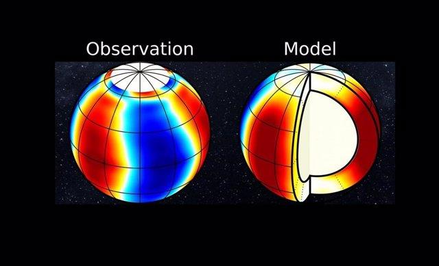 La velocidad norte-sur asociada con el modo de oscilación de propagación retrógrada. Izquierda: observaciones utilizando el instrumento SDO / HMI. Derecha: modelo numérico.
