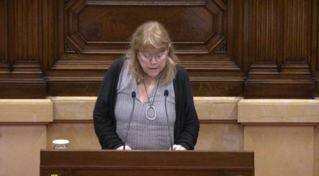 La consellera de Cultura de la Generalitat, Natàlia Garriga, en el ple del Parlament