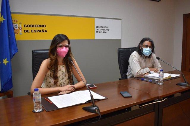 La delegada del Gobierno en Melilla y el director del Ministerio de Educación, este martes en rueda de prensa