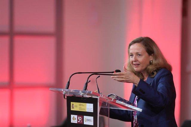 La vicepresidenta primera y ministra de Asuntos Económicos y Transformación Digital, Nadia Calviño, clausura el acto de presentación del Fondo Next Tech, a 19 de julio de 2021, en Madrid, (España).