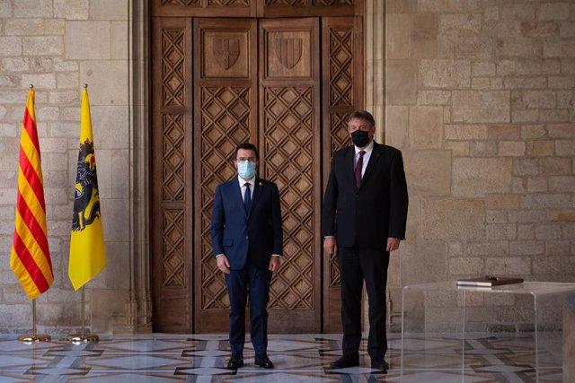 El president de la Generalitat, Pere Aragonès, i el president de Flandes, Jan Jambon