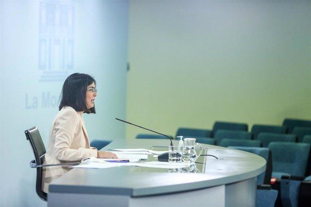 La ministra de Sanidad, Carolina Darias, interviene en la rueda de prensa posterior al Consejo Interterritorial de Salud, a 20 de julio de 2021, en Madrid (España). En el Consejo Interterritorial de Salud se ha informado del aumento de la incidencia de la