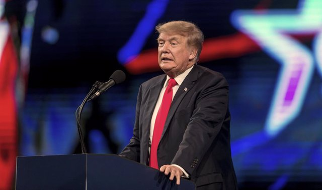 11 July 2021, US, Dallas: Former USPresident Donald Trump speaks during the third and last day of the Conservative Political Action Conference 2021, organized by the American Conservative Union. Photo: Brian Cahn/ZUMA Wire/dpa