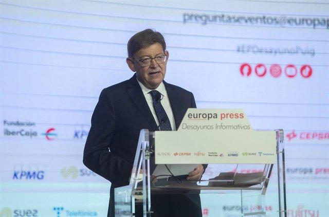 El presidente de la Generalitat Valenciana, Ximo Puig, interviene en el Desayuno Informativo de Europa Press en el Auditorio El Beatriz Madrid, a 21 de julio de 2021, en Madrid