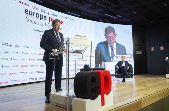 El presidente de la Generalitat valenciana, Ximo Puig, interviene en  un Desayuno Informativo de Europa Press en Madrid.