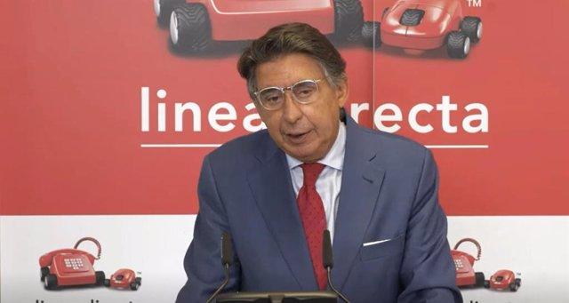 El consejero delegado de Línea Directa, Miguel Ángel Merino, durante la presentación de los resultados de la compañía correspondientes al primer semestre de 2021