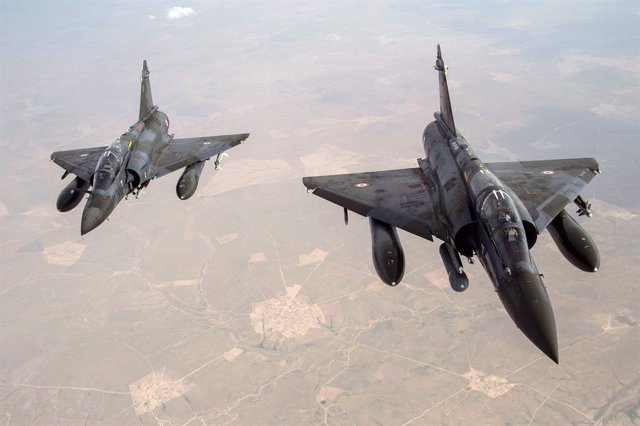 Archivo - Aviones Mirage 2000D de la Fuerza Aérea de Francia durante la campaña contra Estado Islámico en Irak